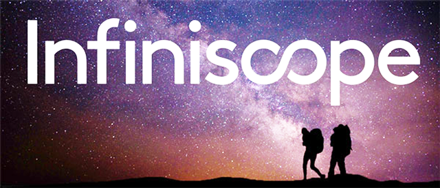 Infiniscope banner image. Profile of hikers in front of galaxy background.